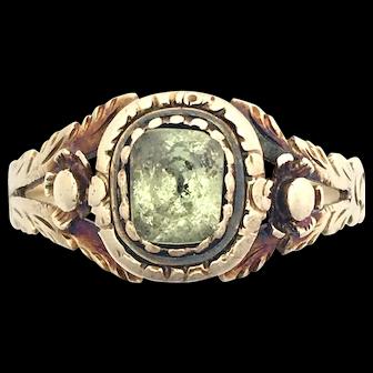 Georgian Foiled Olivine Peridot 9K Gold Ring