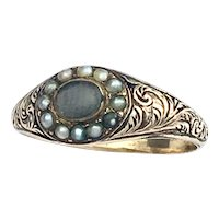 Georgian 9K Gold Hair and Seed Pearl Mourning Ring