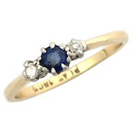 Art Deco 18K Gold and Platinum Sapphire Diamond Ring