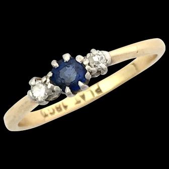 Art Deco 18K Gold and Platinum Sapphire Diamond Ring