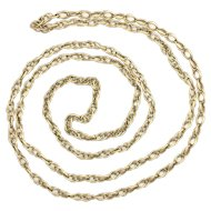 Very Long Vintage 9K Gold Fancy Chain Necklace