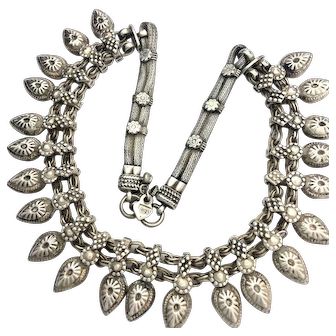 Vintage Indian Rajasthani Silver Collar Necklace