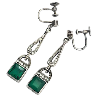 Antique Emerald Paste Silver Screwback Earrings