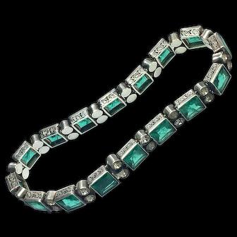 Antique Emerald Green Paste Silver Cocktail Bracelet