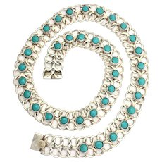 Vintage Mexico Sterling Silver Turquoise Necklace