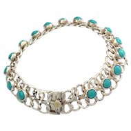 Vintage Mexico Sterling Silver Turquoise Bracelet