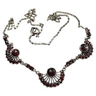 Art Deco Bohemian Garnet Silver Fan Necklace