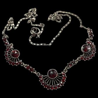 Art Deco Bohemian Garnet Silver Fan Necklace