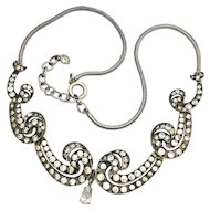 Late Art Deco Silver Paste Snake Chain Necklace