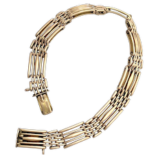 Antique 9K Rose Gold Gate Bracelet