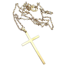 Antique 9K Gold Cross Pendant Necklace