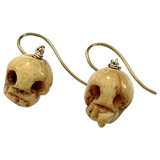 Victorian Carved Bone Skull Gold Chain Earrings