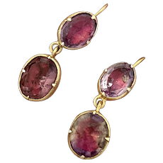 Georgian Foil-Backed Almandine Garnet Gold Earrings