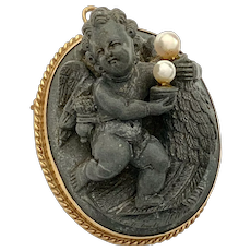 Victorian Carved Lava Cameo Pendant/Brooch, Pearl and 14K Gold