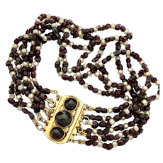 Victorian Rose Cut Garnet and Pearl Gold Multi Strand Bracelet