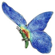Large Sterling Silver and Enamel Butterfly Brooch