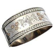 Vintage Sterling Silver Rose Gold Hinged Bangle