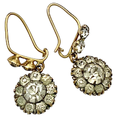 Victorian 9K Gold Paste Flower Cluster Earrings