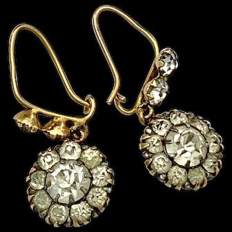Victorian 9K Gold Paste Flower Cluster Earrings
