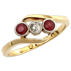 Art Deco Diamond Garnet 22CT Gold Bypass Trilogy Ring