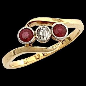 Art Deco Diamond Garnet 22CT Gold Bypass Trilogy Ring