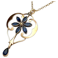 Antique 18K Gold Blue Paste Seed Pearl Pendant Necklace