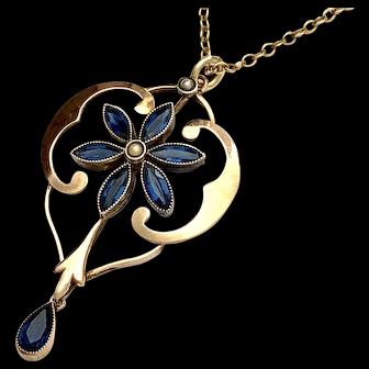Antique 18K Gold Blue Paste Seed Pearl Pendant Necklace