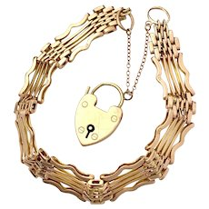 Antique 9K Rose Gold Gate Bracelet with Heart Padlock