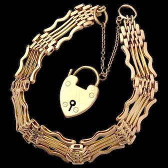Antique 9K Rose Gold Gate Bracelet with Heart Padlock