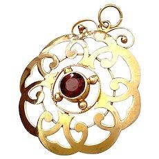 Edwardian 9K Rose Gold Almandine Garnet Pendant
