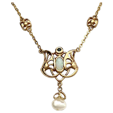 Art Nouveau Jugendstil Style Gold Opal and Pearl Necklace