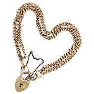 Vintage English 9K Gold Double Curb Chain Padlock Bracelet
