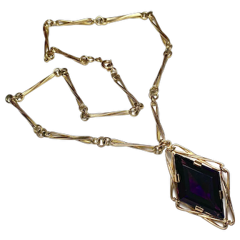 Antique French Amethyst 18K Gold Necklace