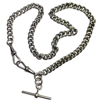 Antique Victorian Silver Albert Watch Chain Necklace with T Bar