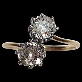 French Victorian Diamond 18K Gold Toi et Moi Bypass Ring