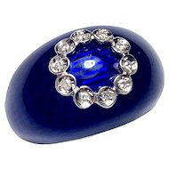 Vintage Diamond-set 18K Gold Blue Enamel Domed Ring