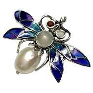 Vintage Silver Plique a Jour Enamel Gem-set Bug Brooch
