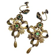 Victorian Emerald Paste Screwback Chandelier Earrings