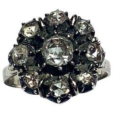 Georgian Rose-Cut Diamond Cluster Ring