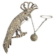 Antique Sterling Silver Marcasite Parrot and Ball Brooch