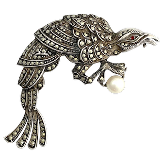 Art Deco Silver and Pearl Marcasite Peacock Brooch