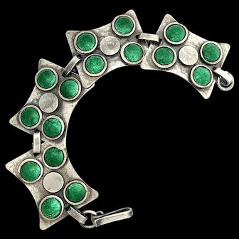 Antique Arts and Crafts Green Enamel Silver Bracelet