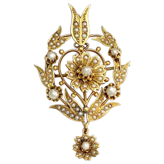 Victorian 15K Gold and Pearl Pendant
