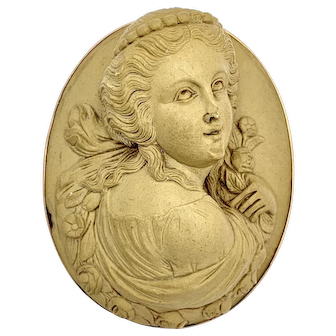 Victorian 9K Gold Carved Lava Cameo Brooch