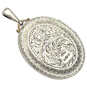 Large Victorian Sterling Silver Photograph Locket Pendant