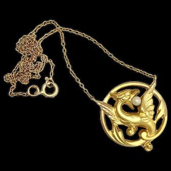 Antique Art Nouveau 14K Gold and Pearl Griffin Necklace