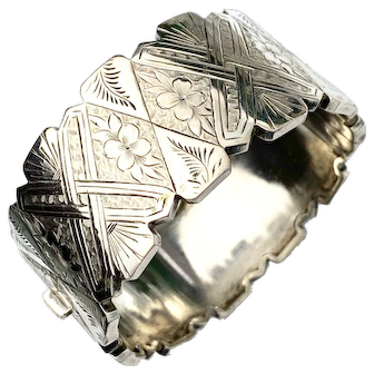 Victorian Engraved Sterling Silver Hinged Bangle