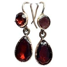 Georgian Foiled Garnet Rose Gold Drop Earrings
