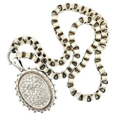 1882 Victorian Sterling Silver Locket and Book Chain