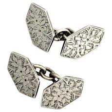 Victorian Aesthetic Movement Engraved Silver Cufflinks 1896